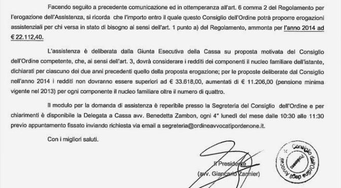 Circ. 155/2014 – assistenza per caso di bisogno cassa nazionale di previdenza forense anno 2014